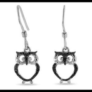 NEW Black Diamond Owl Earrings In Sterling Silver